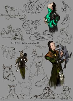 LOKI AND HIS CHILDREN!  by ~jen-and-kris on deviantART Love it....what a good Mommy/Daddy <3