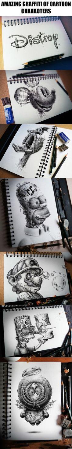 Amazing graffiti of cartoon characters                                                                                                                                                                                 More