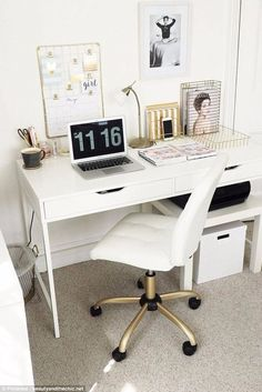 Beauty and the Chic also shared her stylish desk space where she applied white adhesive to the top of the black desk she owned, incorporated white storage boxes and spray painted her chair legs gold