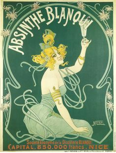 French Advertisement Poster Absinthe Blanqui Green Fairy - Victorian Area. $14.00, via Etsy.
