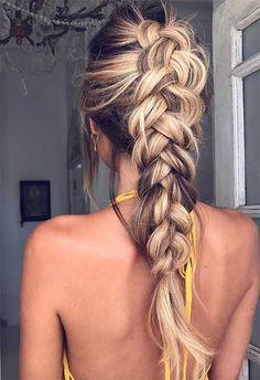 Long Braids: Braided Hairstyles for Long Hair: Loose Dutch Braid . Long braids: Braided hairstyles for long hair: Loose Dutch Braid . Braided Ponytail Hairstyles, Loose Hairstyles, Girl Hairstyles, Braid Ponytail, Shag Hairstyles, Everyday Hairstyles, Wedding Hairstyles, Boho Braid, Beehive Hairstyle