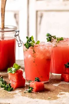 Lemon-Thyme Vodka Watermelon Lemonade | halfbakedharvest.com
