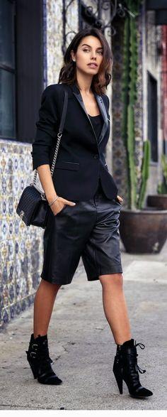 Leather Lapel Blazer + Leather Trouser Short