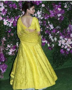 Alia Bhatt Beams With Joy as She Makes a Splash in Yellow at Akash Ambani And Shloka Mehta's Wedding - HungryBoo WhatsApp us for Purchase & Inquiry : Buy Best Designer Collection from Indian Skirt, Dress Indian Style, Indian Dresses, Lehenga Designs, Saree Blouse Designs, Indian Wedding Outfits, Indian Outfits, Lehnga Dress, Lehenga Blouse