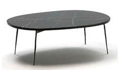 Mesa de centro mármol negro oval