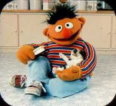 Sesame Street View-Master - Ernie brushes his calico kitten Sesame Street Muppets, Sesame Street Characters, Cartoon Characters, Jim Henson, Sapo Kermit, Die Muppets, Bert & Ernie, Fraggle Rock, The Muppet Show