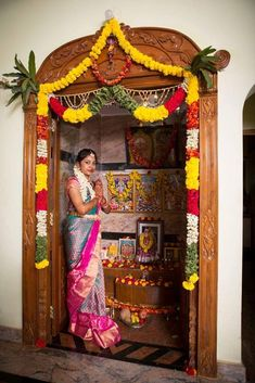Pooja Room Door Design, Home Room Design, Diwali Decorations At Home, Wedding Decorations, Floral Decorations, Temple Room, Temple Design For Home, Housewarming Decorations, Mandir Design