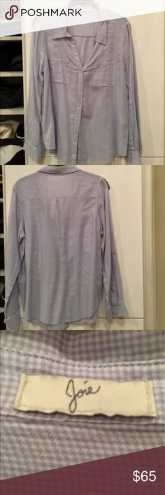 Joie Cotton blouse Light blue and white small checks 100%cotton blouse. Double pockets in front. As see in the picture sleeves can be worn either rolled or down. Very light weight. Can be tucked in or worn out. No stains and in great condition. Joie Tops Button Down Shirts