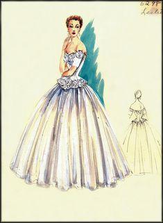 vintage fashion sketches   VINTAGE FASHION DESIGN SKETCHES: BERGDORF GOODMAN