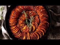 Spiral Sweet Potato Bake | RecipeTin Eats Whole Food Recipes, Vegan Recipes, Yummy Recipes, Spiral Potato, Recipetin Eats, Potato Sides, Baked Cheese, Sweet Potato Recipes, Veggies