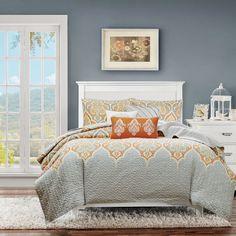 Madison Park Leah Orange Quilted 6-piece Coverlet Set