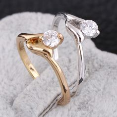Fashion Copper Finger Round Ring Inlay Shiny White Zircon Two Colors Full Size