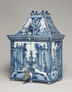 Delftware house-shaped cistern, Greek A Factory
