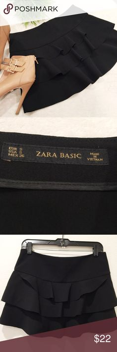 """ZARA BASIC Black Tiered Ruffle Mini Skirt Super cute Zara Basic black ruffle tiered mini skirt 