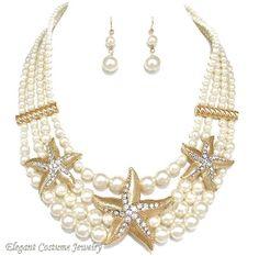 Ivory Pearl Gold Starfish Necklace Set Elegant Nautical Jewelry