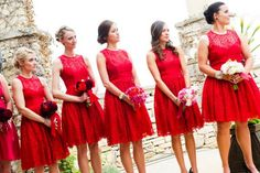 Red Lace Bridesmaid Dresses - would love these in a different color.