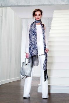 Rachael Zoe Resort 2013 all white pant combo with bright scarf and muted bag