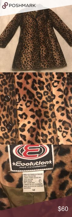 """Heavyweight felt leopard jacket EUC, true story, Ann Wilson from Heart stopped me and said """"great coat""""! It absolutely is. Flattering, hidden pockets, button down. No signs of wear. Ready for a holiday party or a very cool person to take it out again. Great with jeans and a t, leggings and a turtleneck or worn dressy with a shift dress. Must sacrifice. Doesn't fit. 😭 It deserves another fun soul. :) evolution Jackets & Coats"""