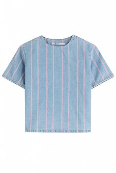 T by Alexander Wang Cropped Denim Top with Stripes