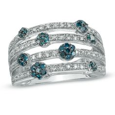 1/2+CT.+T.W.+Enhanced+Blue+and+White+Diamond+Flower+Orbit+Ring+in+Sterling+Silver