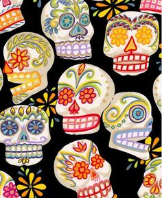 Beautiful Mexican day of the dead fabric $13.00 a yard