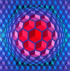 I'm rediscovering Op Art. I grew up loving these works and imitating them in my own drawings in my Trapper Keeper. Here is Victor Vasarely (1908-1997) - Cheyt pyr (1970-71)