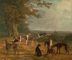 """Nine Greyhounds in a Landscape"" (circa 1807) by Jacques-Laurent Agasse."