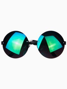 Oversized Round Sunglasses with Green Mirror Lens. Arina Vaziri · Sun  glasses f94748c21a