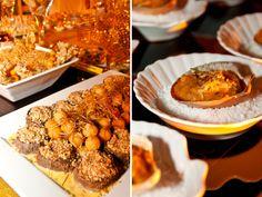 Pratos salgados: suculento medalhão de mignon com risoto brasileiro e casquinha de siri