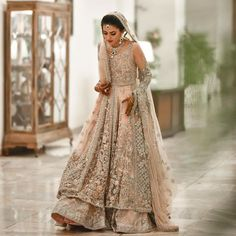 The Most Offbeat & Unique Sabyasachi Lehenga Colours That We Spotted On Real Brides Off Late! Golden Bridal Lehenga, Indian Bridal Lehenga, Indian Bridal Outfits, Pakistani Bridal Dresses, Indian Dresses, Bridal Lehenga Collection, Designer Bridal Lehenga, Sari, Lehenga Designs