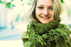 Handmade crochet shawl scarf   Favorite green shawl by Muza, $115.00