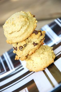 Macadamia Nut Butter Cookies:  1 egg,  1 t. vanilla,  1/4 c. pure maple syrup (sub stevia?),  2/3 c. homemade macadamia nut butter,  2 c. almond flour,  1 t. baking soda,  1/4 t. salt,  and 1/2 c. dairy-free, soy-free chocolate chips.