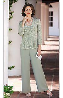 Glitter Knit Twin Set & Chiffon Pull-on Pants