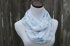 Embroidered Blue Floral on White Mesh by ShopNeedlesandNails, $10.00