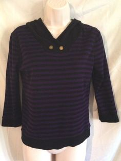 LRL Ralph Lauren Purple Black Stripe Long Sleeve Hoodie S 100% Cotton Top #RalphLauren #Blouse #Casual