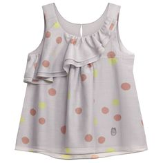 Grey polka dot-printed cotton voile / silk blouse for little girl