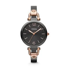 Georgia Three Hand Stainless Steel Watch – Smoke and Rose ES3111 | FOSSIL®