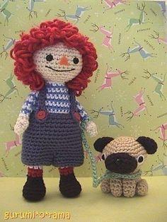 Amigurumi doll pattern crochet boy rag doll and dog by gurumiorama ♡