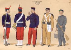 Brazil in the First World War - O Brasil na Primeira Guerra Mundial -  ESTAMPA N. 191 - INFANTARIA - ARTILHARIA - 1908: a) Soldado de Infantaria, grande gala; b) Tambor de Artilharia de Posição; c) Soldado de Infantaria com equipamento antigo; d) Idem com uniforme de serviço interno (brim mescla).