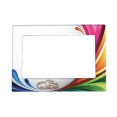 Rainbow Splash & Wedding Rings - Frame Frame Magnets: Rainbow Splash & Wedding Rings Matching Wedding Set  #lgbtq #gaymarriage #gaywedding