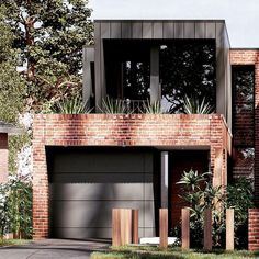 Flashback to one of our favourite concepts. Now a pair of living breathing homes. - Flashback to one of our favourite concepts. Now a pair of living breathing homes… – Flashback - Duplex Design, Townhouse Designs, Modern House Design, Modern Brick House, Modern House Facades, Recycled Brick, Facade House, Exterior Design, Black Exterior