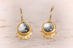 Gold Aquamarine Earrings  22k Earrings  Blue by GefenJewelry