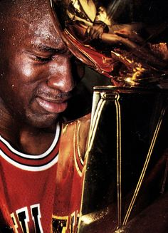 #Michael Jordan won the championship while still grieving the death of his father, and it was won on father's day of all days, Jordan's first trophy after his comeback marked a very emotional moment for number 23 ~ First of 6! A true CHAMPION