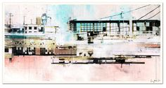 """HIGH CONTRAST - Cityscape Art Lithograph - 11.5 x 22"""" - Signed by the artist. $30.00, via Etsy."""