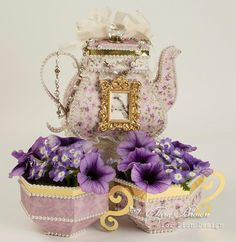 Adorable tea set in purple with the Scent of Lavender paper collection