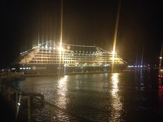 Returning to Azamara Quest after our Azamazing evening in Livorno, the ship was lit up like a Christmas Tree