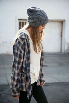 Oversized plaid shirt with a hoodie and a beanie. Love it.