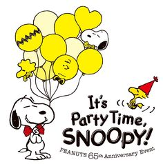 It's Party Time Snoopy - Snoopy and Woodstock With Snoopy Holding Woodstock and Charlie Brown Balloons