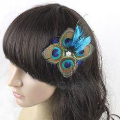 Pince à cheveux style Plume de paon