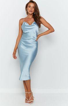 Schiffer Slip Midi Dress Icy Blue – Beginning Boutique Light Blue Midi Dress, Blue Satin Dress, Silky Dress, Glam Dresses, Satin Dresses, Silk Bridesmaid Dresses, Bridesmaids, Long Slip Dress, Party Dress Outfits
